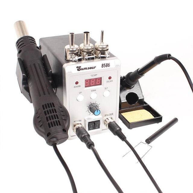 SMD עיבוד חוזר הלחמה תחנת 8586 700W 2 ב 1 תצוגה דיגיטלית אוויר חם אקדח הלחמה ברזל 220V / 110V ESD ריתוך תיקון כלים