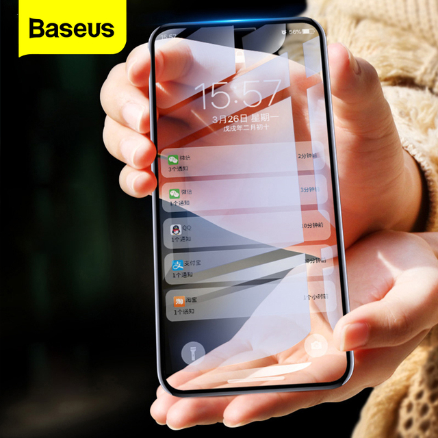 Baseus For iPhone X XS Screen Protector 0.2mm 9H Tempered Glass For iPhone X S Ultra Thin 6D Full Cover Front Protective Glass
