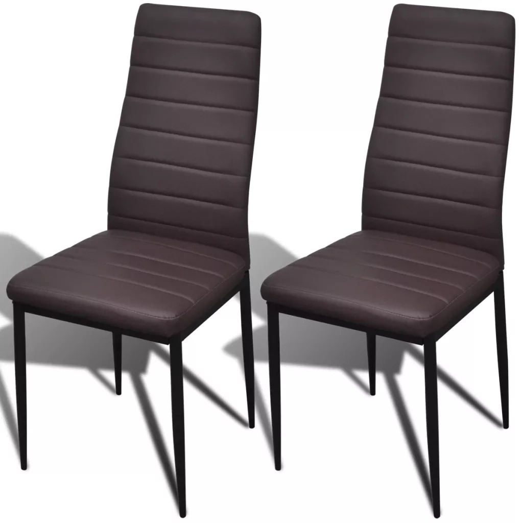 Modern Dining Chair Faux Leather Metal Legs Loft Lounge Stool Modern Design Padded Seat Chair Dining Chair Home Furniture 2pcs