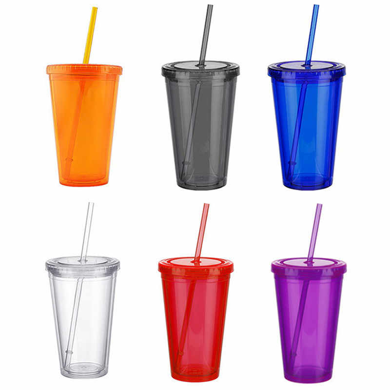 1Pcs 450Ml Double-Walledice Plasticiced Tumbler Koud Drankje Mok Sap Thee Cup Met Stro Herbruikbare smoothie