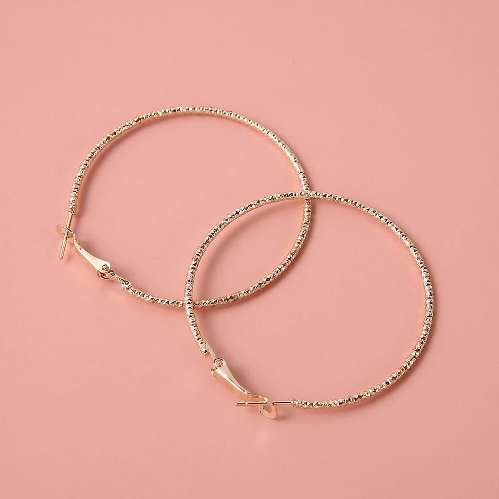 Золотые Большие серьги-кольца, корейские геометрические металлические золотые серьги для женщин, женские висячие серьги в стиле ретро, Мод...