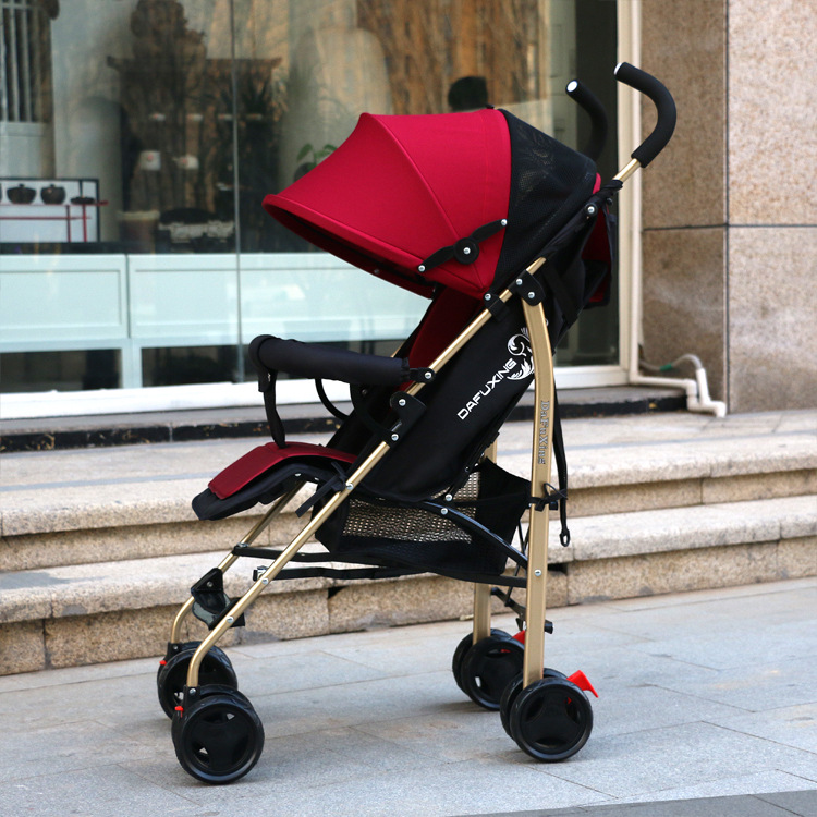 Baby and Children's Carts Can Sit Can Lie Down Light Folding Earth Haute Gold Tube Shock-absorbing Brake Four Seasons