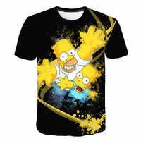 Camiseta para hombre, divertida camiseta de manga corta con estampado 3D de Homer Simpson y su hijo, camisetas y Tops casuales de moda, ropa Unisex de marca