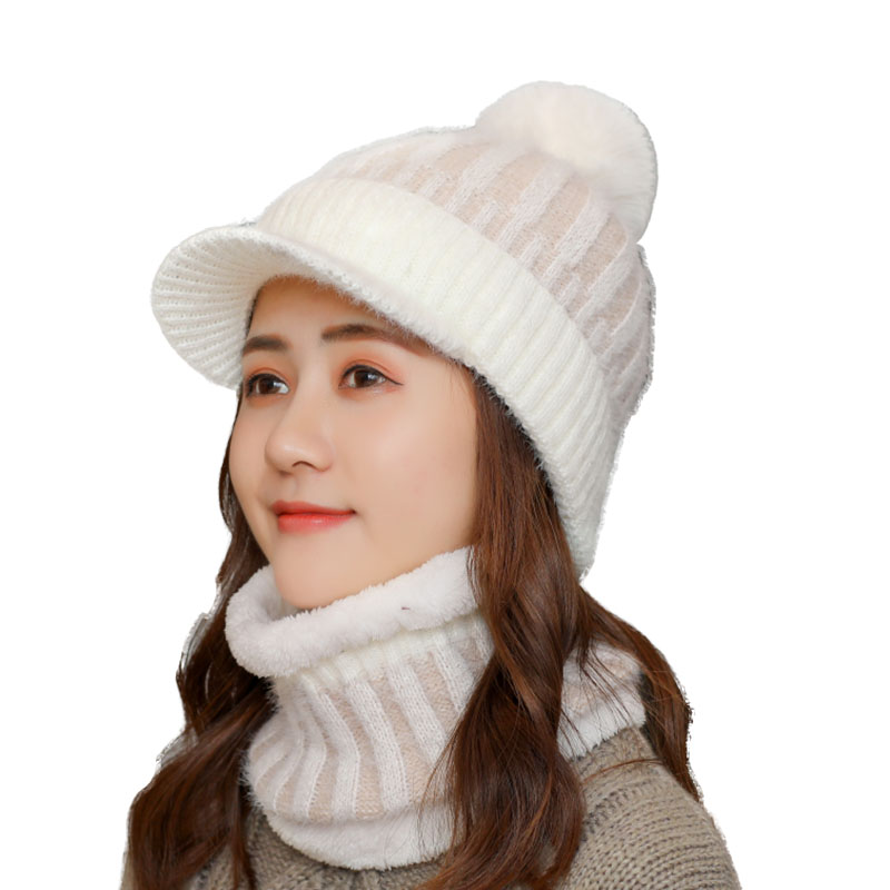 2019 New Pompons Ball Cap Hat Knitted Beanies Winter Hat Cap For Girl Women Brand New Thick Female Skullies Beanie Scarf Hat