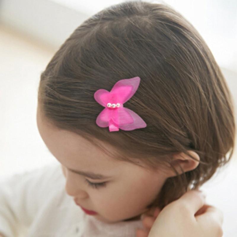 5 шт. заколки для волос с бантом и бабочкой для девочек, детская Шпилька, аксессуары для волос, разные цвета