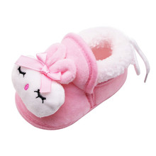 SAGACE Newborn Slippers Baby Cute Rabbit Winter Warm Plush Home Shoes Unisex Slippers Prewalker Baby Girl Warm Shoes Baby cheap Rubber Fits true to size take your normal size Animal Prints Cotton Fabric Flat Heels baby boy warm shoes children warm shoes