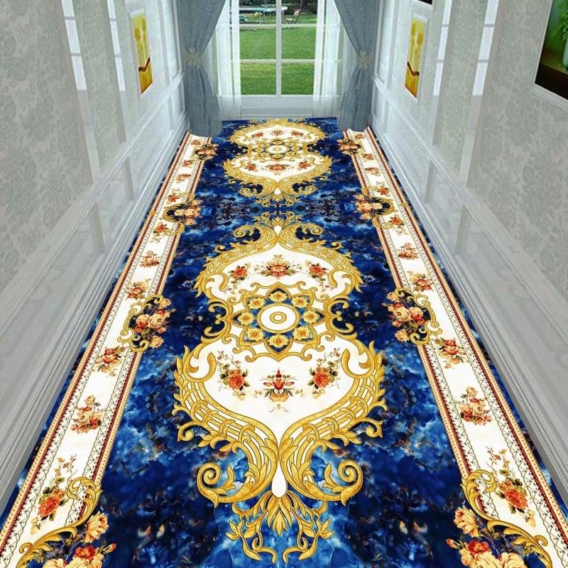Alfombra larga de estilo europeo para escaleras, alfombras de pasillo, alfombras nórdicas para pasillo de casa, alfombras rojas para fiestas y bodas Cosmos Flores, vallas, calcomanías de basebboard, pegatinas decorativas para el hogar, adhesivos de paredes 3D, mural de arte para habitación diy 7210