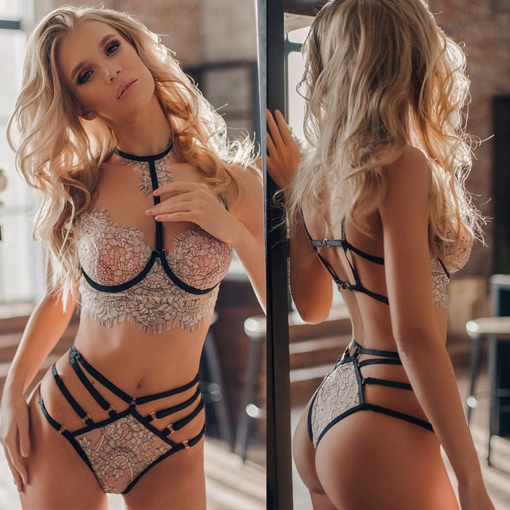 Underwear Set Underwear Women Women Sexy Lace Embroidery Lingerie Set Halter Bra Hollow Thong Set Sleepwear Lenceria Dessous
