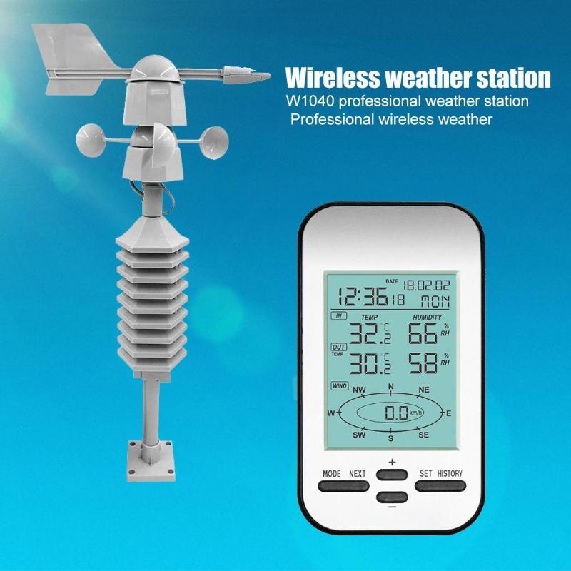 433MHz WS0232 sans fil Station météo horloge vent vitesse Direction capteur professionnel sans fil anémomètre thermomètre hygromètre