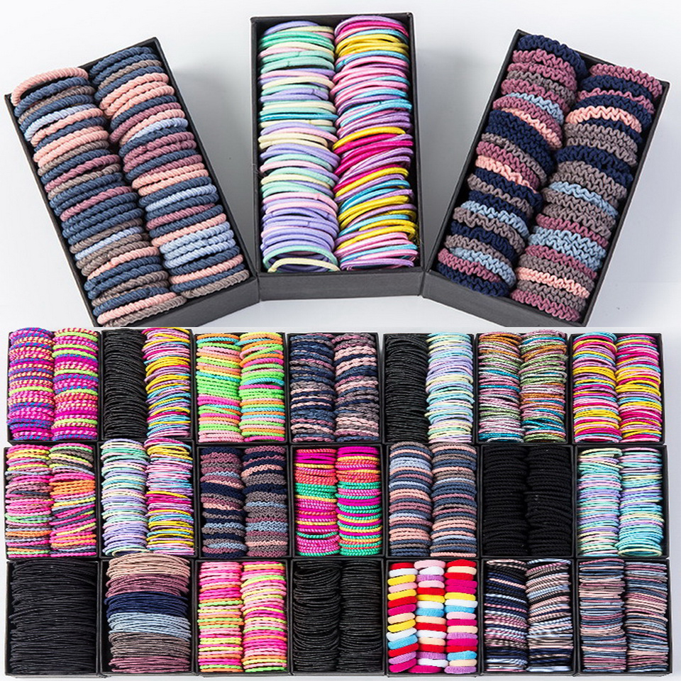 Girls Candy Colors Nylon 2cm 3cm Rubber Bands Children Safety Elastic Hair Bands Ponytail Holder Kids Hair Accessories Hair Ties