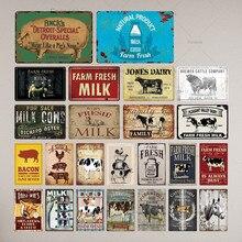 Señal de lata para granja, placa de Metal Vintage con leche, decoración de pared de granja de Metal, signos metálicos Retro de cerdo de vaca (20x30cm)
