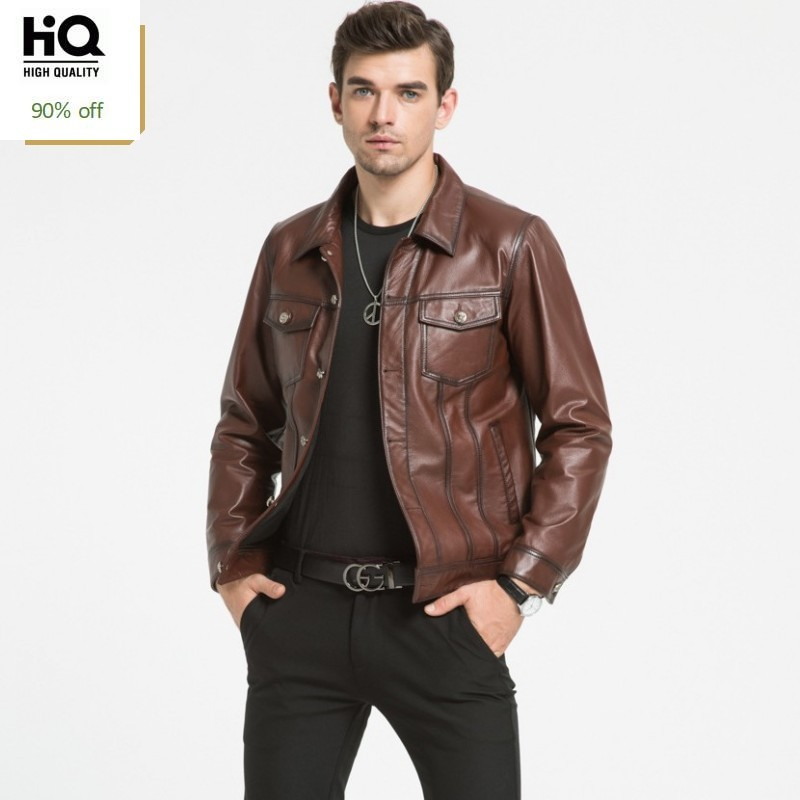 Trend High Quality Man Coat Autumn Classic British Jacket Male Winter Mens Brown Leather Jackets Fashion Cowhide Men Coats L-4XL