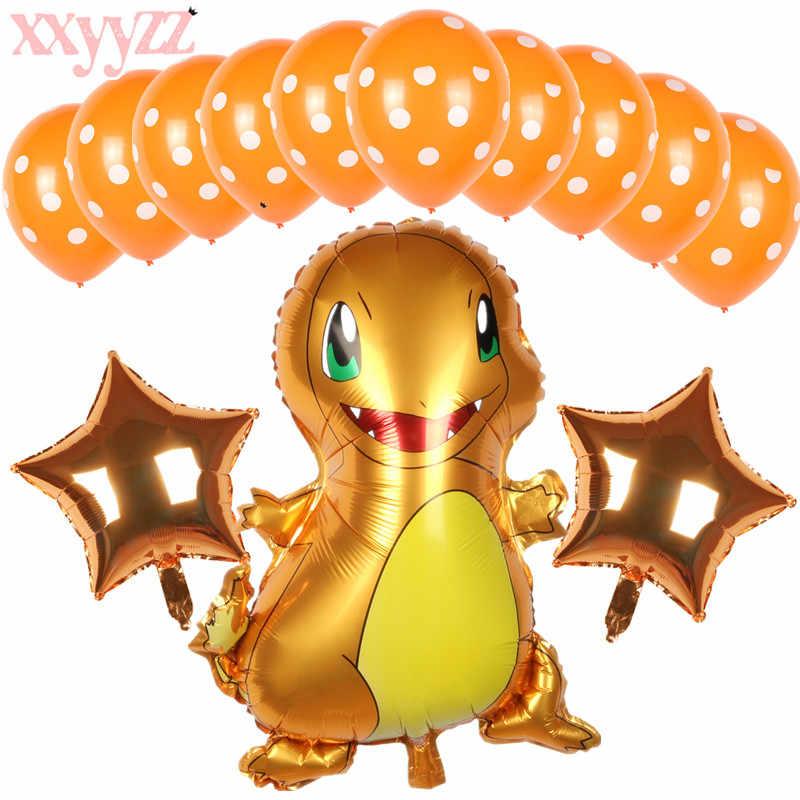 XXYYZZ dibujo animado Pikachu Jane tortuga globo de aluminio fiesta decoración onda punto globo de látex juguete de cumpleaños