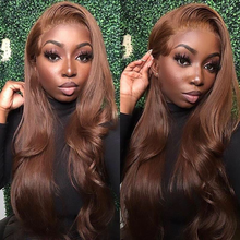 Straight Brown Color Lace Front Human Hair Wig For Women Peruvian Honey Blond Wig PrePlucked T Part Remy Wig 180% Bleached Knots
