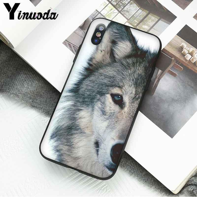 Yinuoda 怒っ動物ウルフフェイス電話ケース iphone 11 プロマックス 5 5Sx 6 7 8 プラス X XS 最大 XR