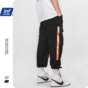 Image 3 - INFLATION 2020 Elastic Waist Patchwork Track Pants Mens Hip Hop Windbreaker Streetwear Trousers Harem Hip hop Swag Pants 8855W