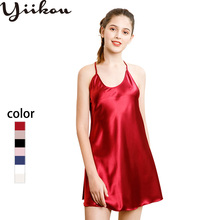 Female summer and autumn simulation silk pajamas ladies sexy strap nightdress lace XL home service