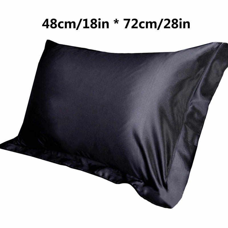 1PC Emulasi Satin Sutra Sarung Bantal Single Warna Solid Sarung Bantal Mewah Bantal untuk Tidur Melempar 48x74cm
