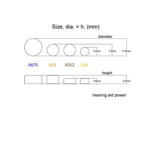Image 3 - 補聴器電源電池 PR70 1.4 v 黄色タブ亜鉛空気ボタン電池 e10 置き換え A10 10 10A DA10 P10 S10 ZA10
