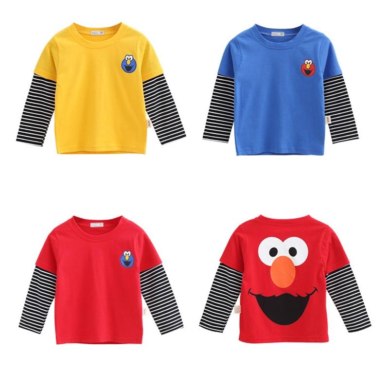 New Spring Autumn Sesame Street Boys Girls Cotton T Shirts Children Funny Tees Long Sleeve Cartoon Shirt Kids Top Clothes 12M-8Y