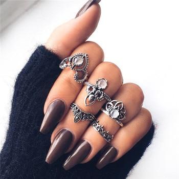 15 Pcs/set Women Fashion Rings Hearts Fatima Hands Virgin Mary Cross Leaf Hollow Geometric Crystal Ring Set Wedding Jewelry 21