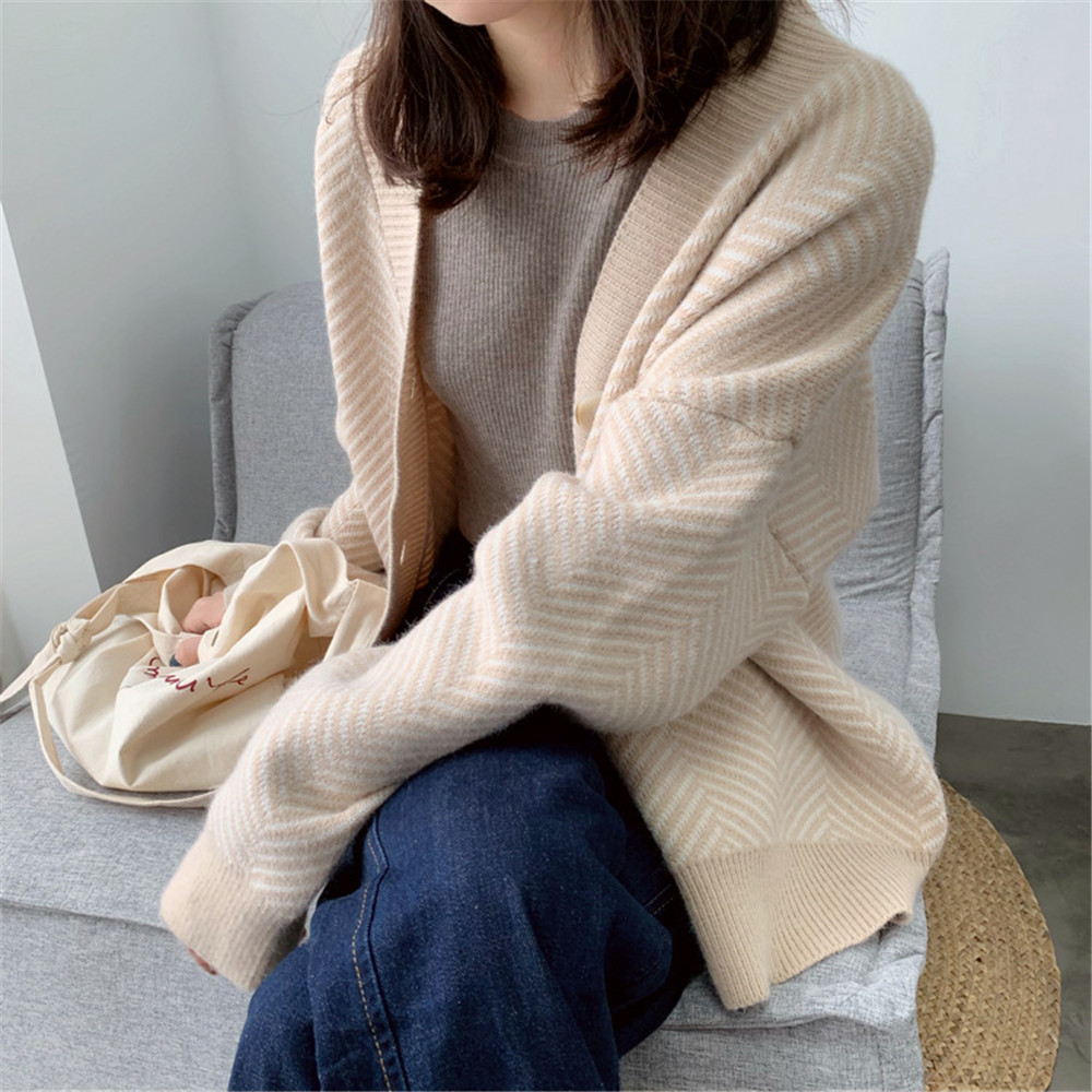 Winter Knitted Sweater Cardigans Women 2020 Spring Open Stitch Loose Knit Cardigans Pink Jumper Striped Sweater Coat Femme 9220 (46)
