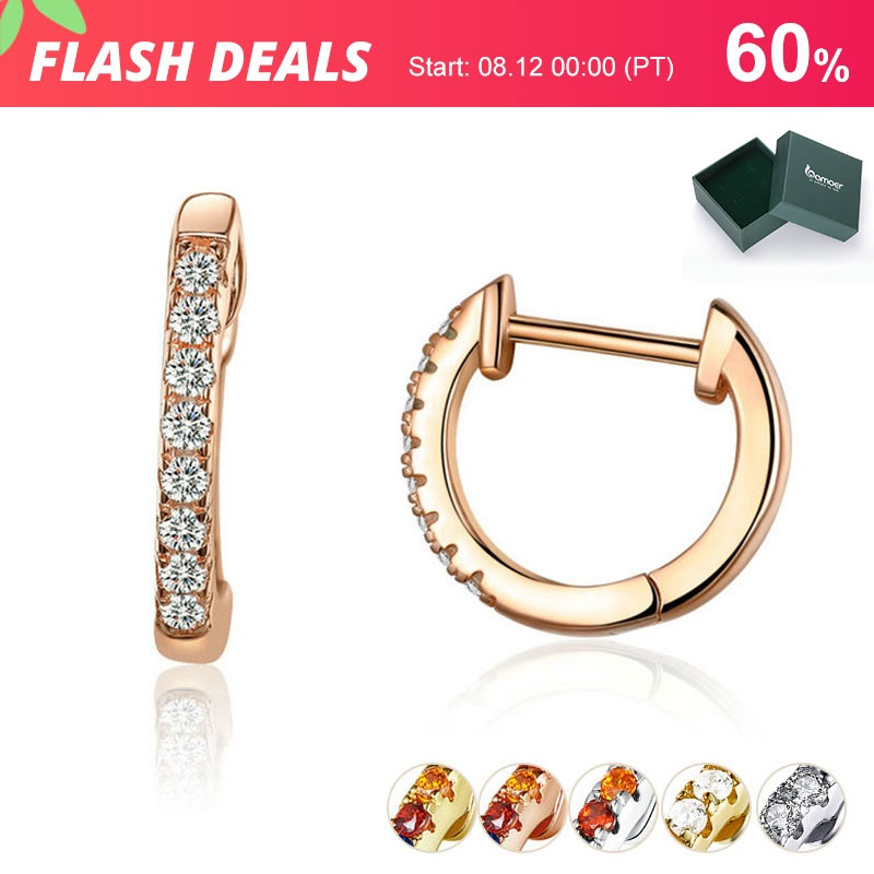 60% OFF BUY 2 PCS GET GIFT BOX 6 Colors Circle Earrings for Women Silver 925 Gold Color Wedding Statement Jewelry Brincos SCE498(China)