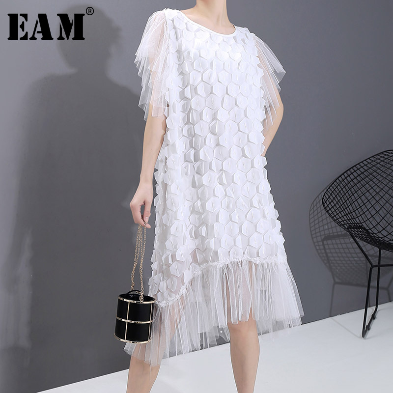 [EAM] Women White Patch Mesh Split Long Dress New Round Neck Short Sleeve Loose Fit Fashion Tide Spring Summer 2020 1T967