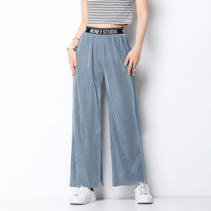 Fold Pleated Pants Women's Summer Wide Leg Pant For Women Casual Ankle-Length Trousers Elastic High Waist Wide Female Mujer