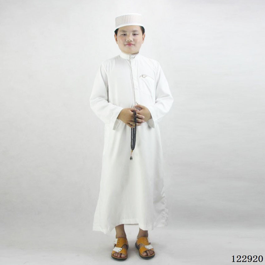80-160cm Kids Boys Jubba Thobe Muslim Thobe Islamic Traditional Costumes Embroidery Dress Robe Gown Ramadan Prayer Clothing