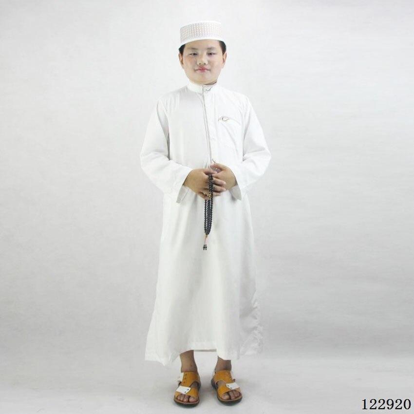 80-160cm Kids Boys Jubba Thobe Muslim Thobe Islamic Traditional Costumes Embroidery Dress Robe Gown Ramadan Prayer Clothing