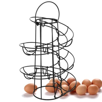 Regał na jajka regał spiralny regał na jajka Deluxe dozownik spiralny kosz na stojaki przestrzeń magazynowa do 24 wielofunkcyjnych stojaków tanie i dobre opinie CN (pochodzenie) Metal