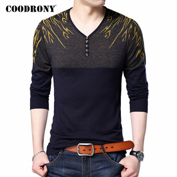 COODRONY Sweater Men Spring Autumn Streetwear Fashion Button V-Neck Pull Homme Cotton Wool Pullover Men Knitwear Sweaters C1049 coodrony brand wool sweater men streetwear fashion striped pull homme spring autumn casual knitwear v neck pullover shirts c1089