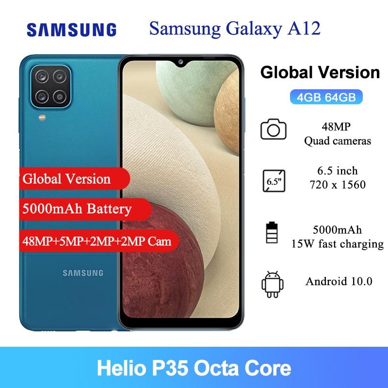Samsung Galaxy A12 глобальная Версия Мобильный телефон 6,5 дюймов Helio P35 Octa Core 8MP фронтальная камера 5000 мА/ч, 64 ГБ, 4 Гб RAM, смартфон