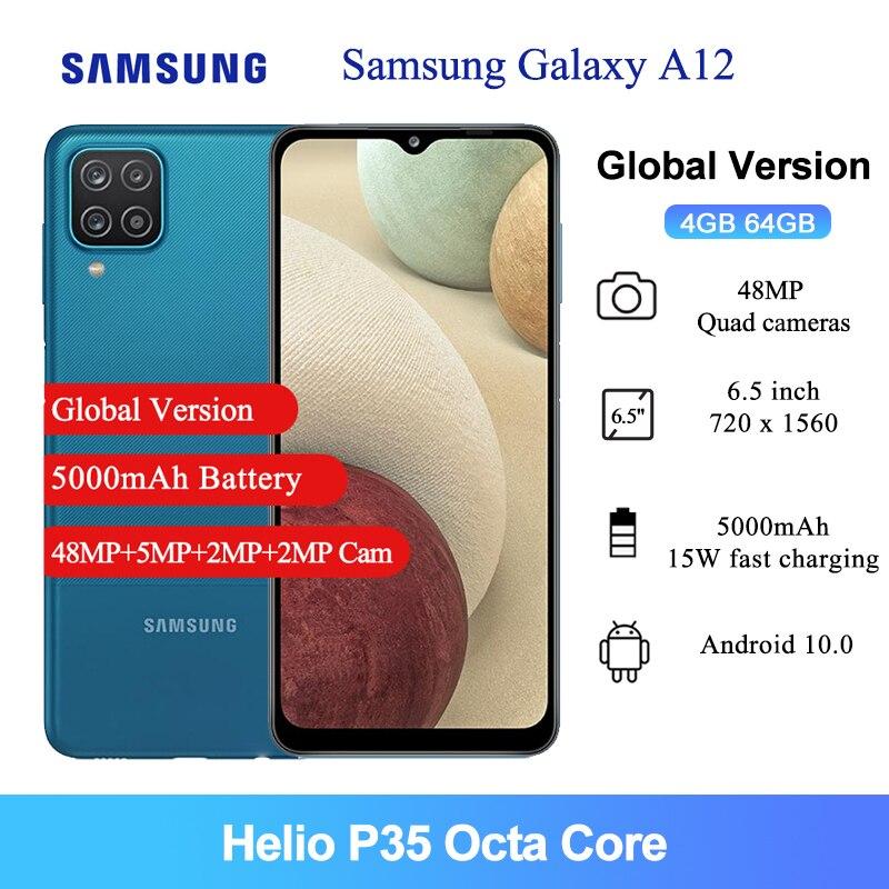 Samsung galaxy a12 versão global telefone móvel 6.5 polegada helio p35 octa núcleo 8mp câmera frontal 5000mah 64gb 4gb ram smartphone