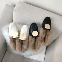 Shoes Women Low Heels Mules Autumn Winter Slip on Slippers Metal Decoration Closed Toe Loafers Rabbit Fur Slides Zapatos Mujer