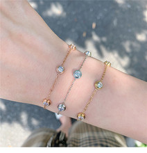 YUN RUO Rose Gold Color Fashion Luxury 5 Zircon Stone Bracelet Woman Gift Titanium Steel Jewelry Not Change Color Drop Shipping luxury brand fashion jewelry bangle titanium steel gold color love letter bracelet