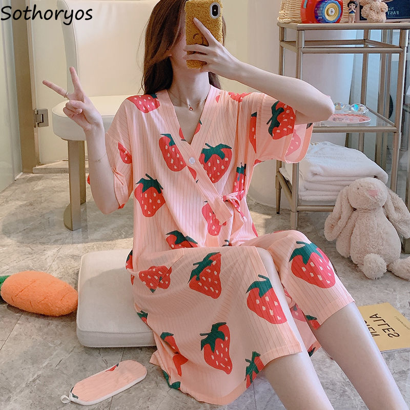 Robes Women Summer Short Sleeve 2XL Kimono Printed Button Lace-up Kawaii Korean Style Womens Sleepwear Simple Fashion Pyjamas