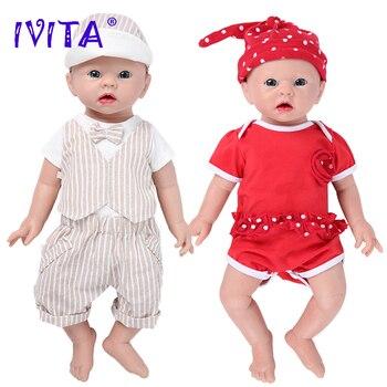 IVITA WG1519 48cm 3700g Realistic Silicone Reborn Baby Dolls Newborn Baby Lifelike Skin Soft Early Education Toy for Children ivita 100
