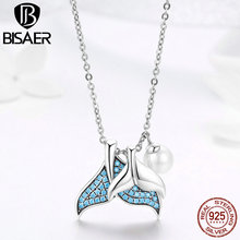 BISAER Sterling Silver 925 Blue CZ Fish Tail Mystery Mermaid Pearl Pendant Necklace for Women 2019 New Gifts Fine Jewelry GXN309 bisaer authentic 925 sterling silver gold color mosaic red cz heart pendant necklace for women valentine s gifts jewelry gan014