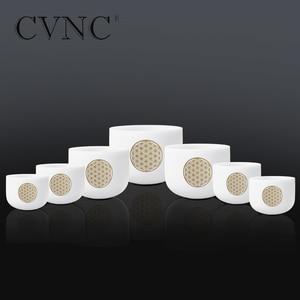 """Image 2 - CVNC 6 """" 12"""" 7 adet set not CDEFGAB çakra buzlu kuvars kristal şarkı söyleyen kase çiçek ile yaşam"""