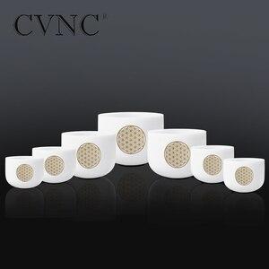 "Image 2 - CVNC 6 "" 12"" סט של 7pcs הערה CDEFGAB צ אקרה חלבית קוורץ קריסטל קערת שירה עם פרח של חיים"