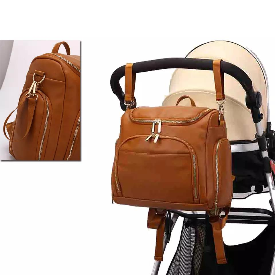 Snailhouse Mommy Diaper Bags Cosmetic Bag PU Leather Baby Nappy Bag Travel Backpack Changing Pad Stroller Straps Insulation Bag