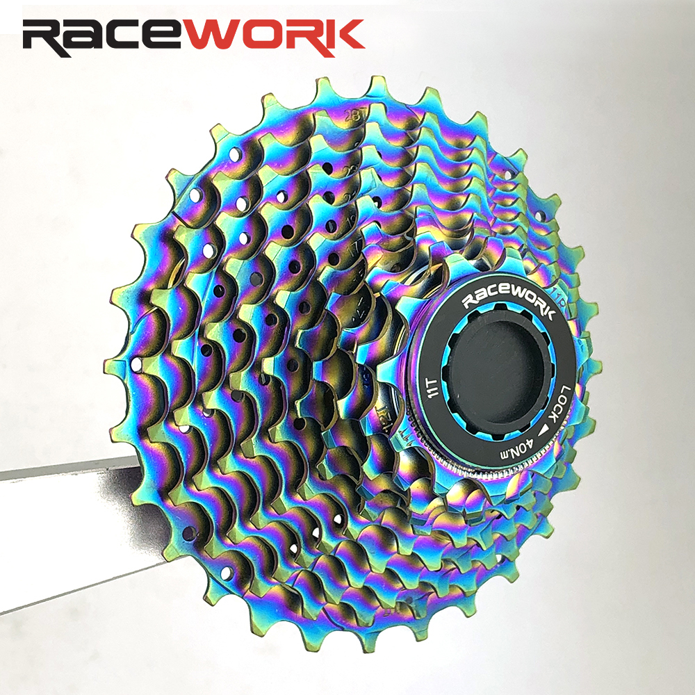 Road bike 11 <font><b>Speed</b></font> Rainbow Cassette 11-28T Bicycle Freewheel Bikes Sprocket Cog Velocidade Cdg Free Wheel For Shimano R8000 image