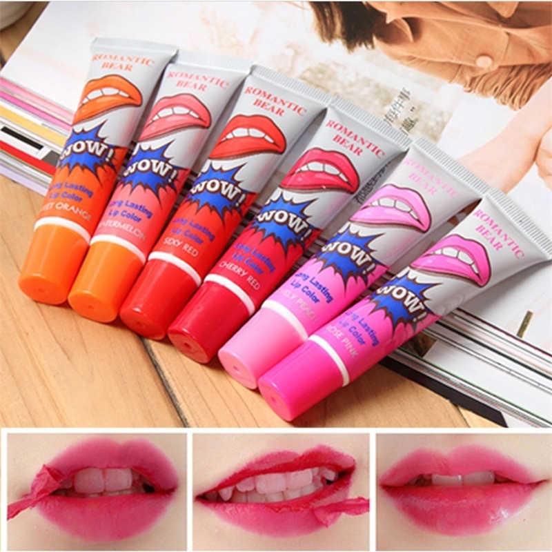 מדהים 6 צבעים לקלף נוזל שפתון עמיד למים לאורך זמן גלוס מוך מסכת איפור קעקוע ליפ גלוס שפתונים קוסמטי