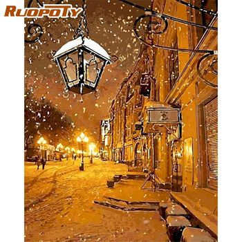 RUOPOTY  Winter Snow Castle DIY Painting By Numbers Kits Hand Painted Modern Wall Art Canvas Painting For Artwork