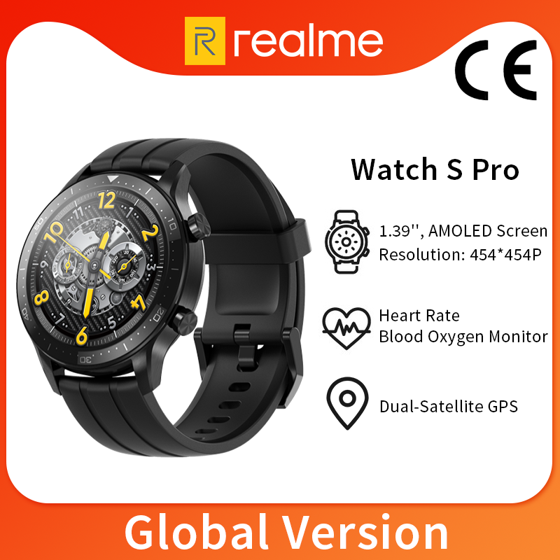 Global Version realme Watch S Pro Smart Watch 1.39'' Dual-Satellite GPS Blood Oxygen Monitor 5ATM Water Resistant Bluetooth 5.0