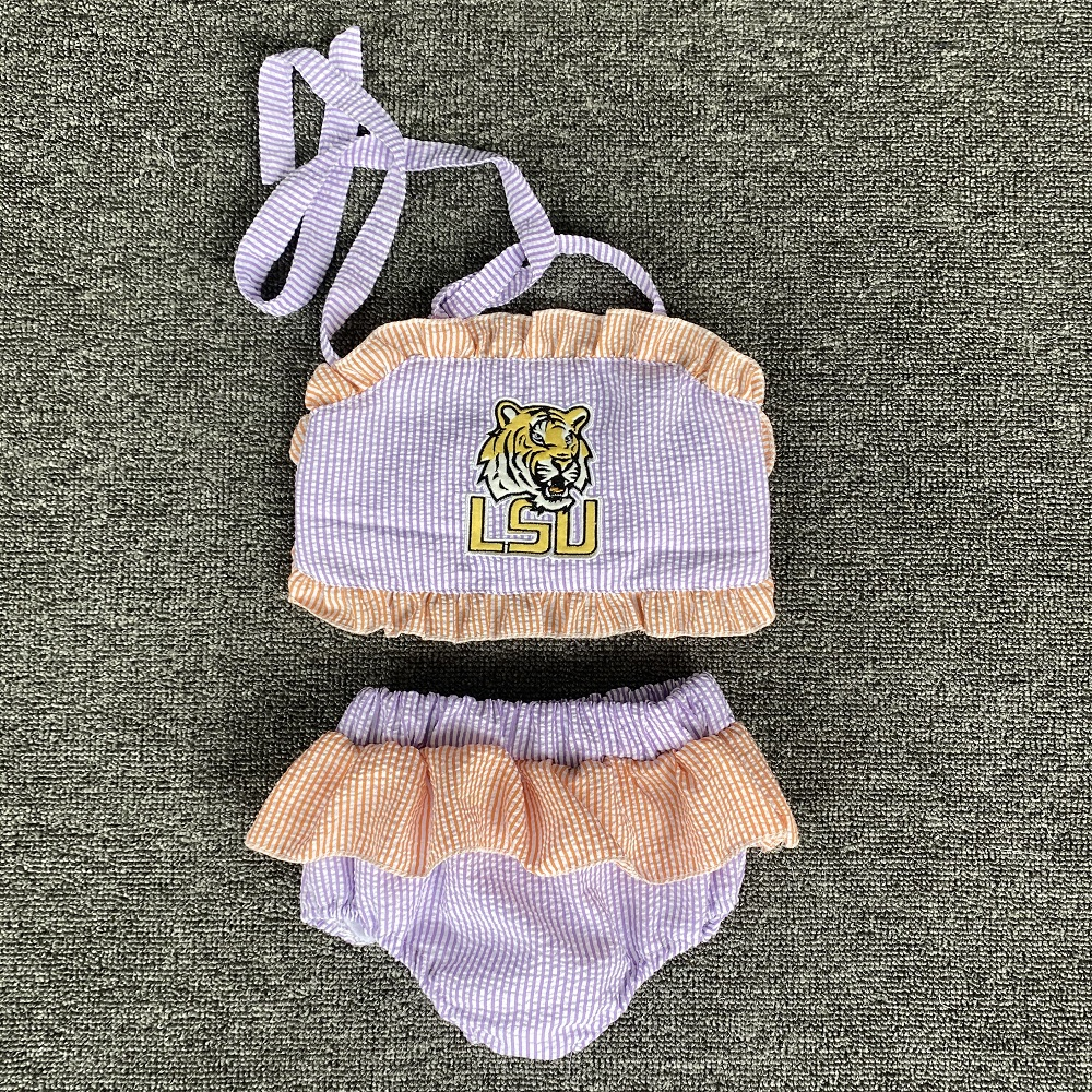 Summer Swimsuit Wholesale Kids Outfit Boutique Baby Girls Clothes Toddler Clothing Sets Match Trunk