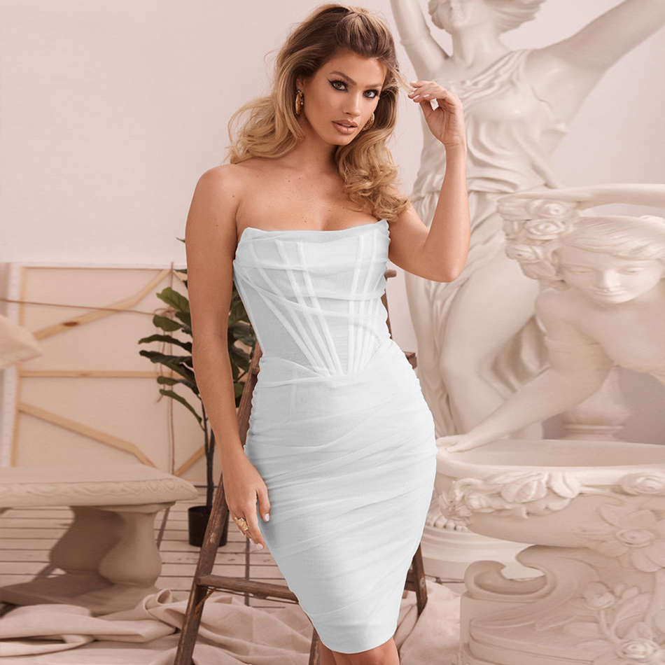 ADYCE 2020 Newest Summer Sexy Women Dresses White Strapless Line Mesh Sleeveless Party Dress Backless Clubwear Midi Vestidos