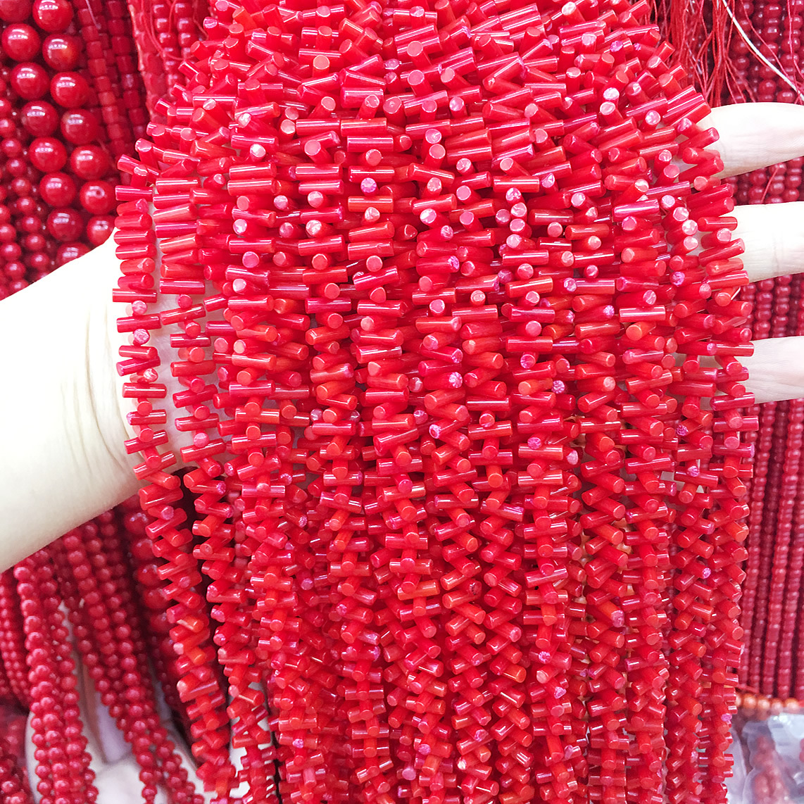 quality irregular <font><b>Coral</b></font> seedlings shape <font><b>red</b></font> loose spacer beads DIY for bracelet necklace Handmade semi-finished loose beads image